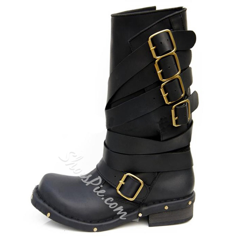 Shoespie Solid Color Buckle Decorated Flat Boots