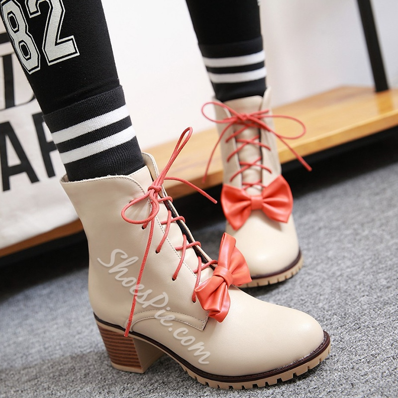 Shoespie Bow Embellished Block Heel Ankle Boots