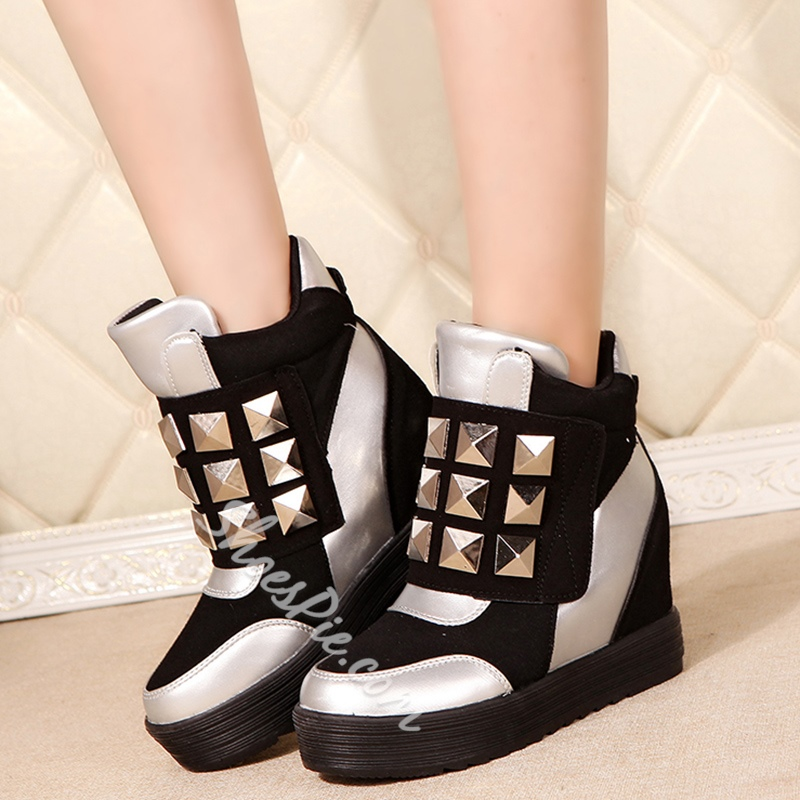 Shoespie Hard Rivets Hidden Elevator Heel Sneakers