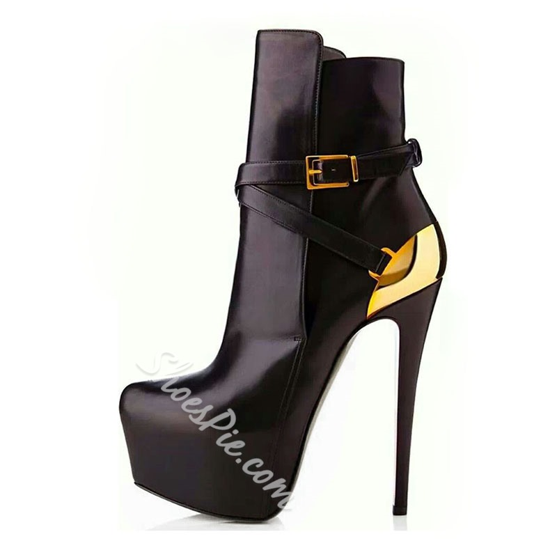 Shoespie Contrast Color Buckle Strap Ankle Boots