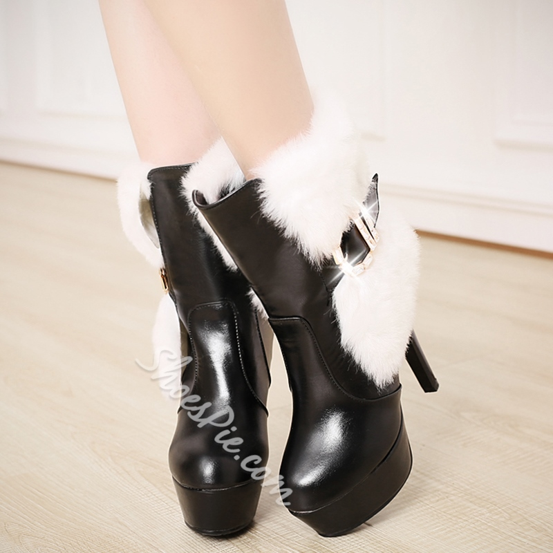 Shoespie Furry Patchwork Buckle Platform Heel Ankle Boots
