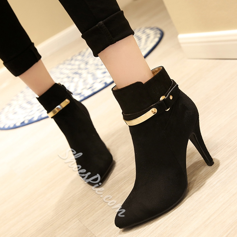 Shoespie Rivets Pointed Toe Ankle Boots