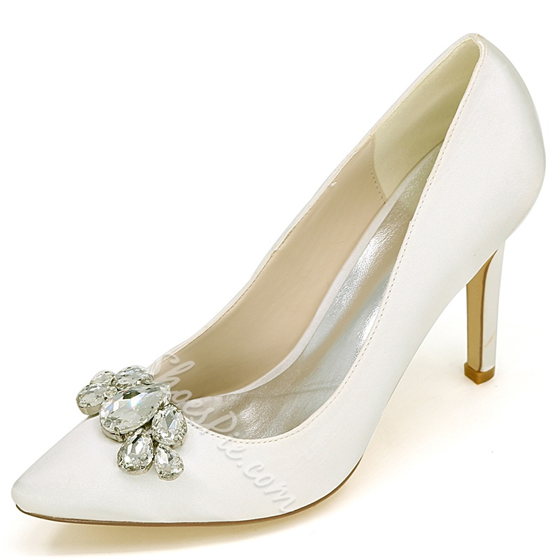 Shoespie Rhinestone Pointed Toe Bridal Shoes