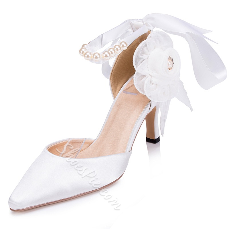 Shoespie Dreaming White Ankle Beaded Ribbon Bridal Shoes
