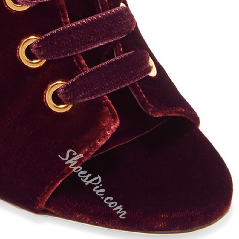 Shoespie Burgundy Open Toe Lace Up Stiletto Heel Fashion Booties