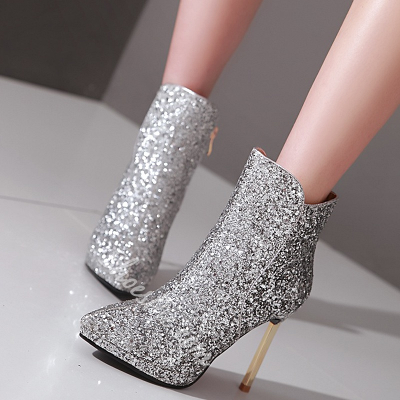 Shoespie Sequine Stiletto Heel Fashion Booties