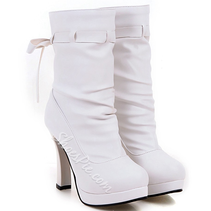 Shoespie Round Toe Platform Tie-Back Chunky Heel Mid Calf Boots