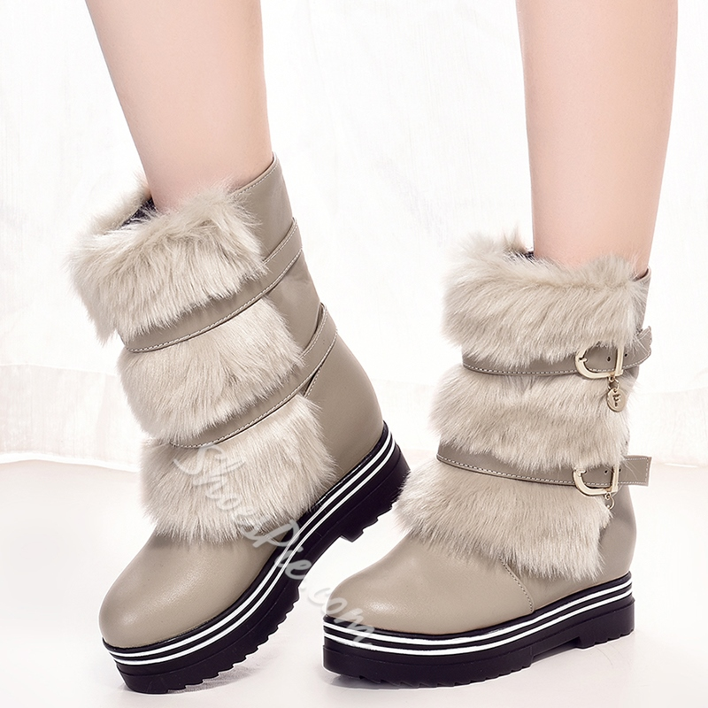 Shoespie Furry Buckle Platform Mid Calf Boots