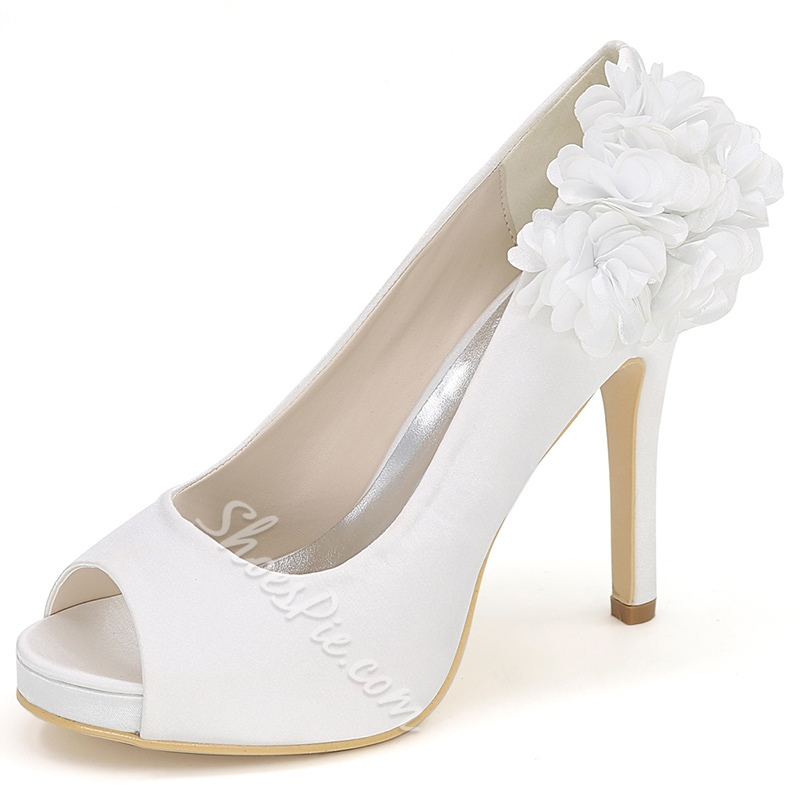 Shoespie Side Floral Appliqued Peep Toe Bridal Shoes