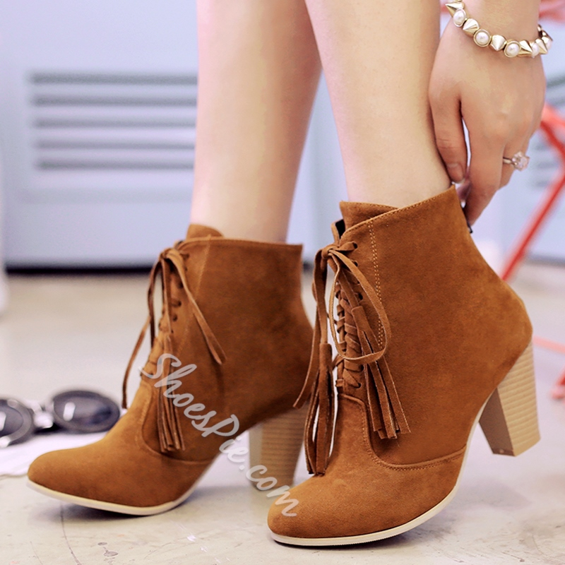 Shoespie Round Toe Fringe Lace Up Block Heel Booties