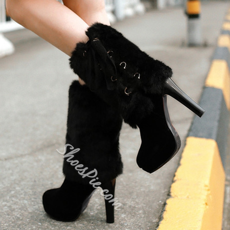 Shoespie Furry Patched Platform Fashion Booties