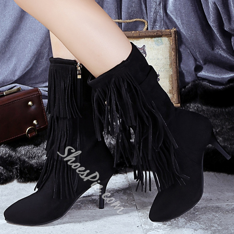Shoespie Fringe Mid Calf Cheap Boots