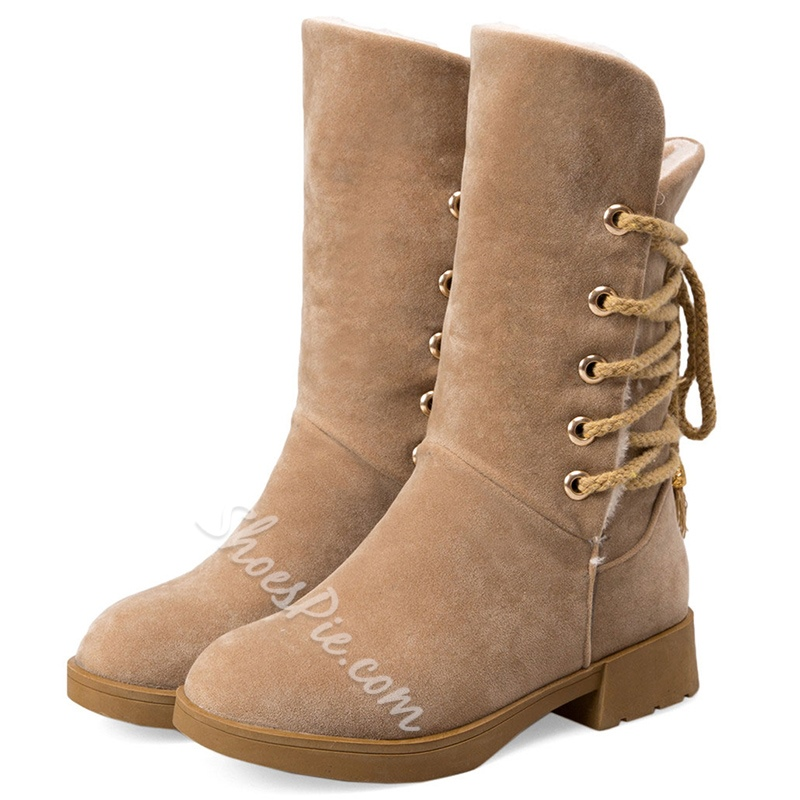Shoespie Solid Color Back Lace Up Flat Boots