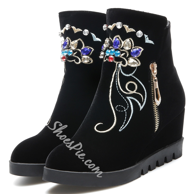 Shoespie Floral Embroidered Wedge Heel Ankle Boots