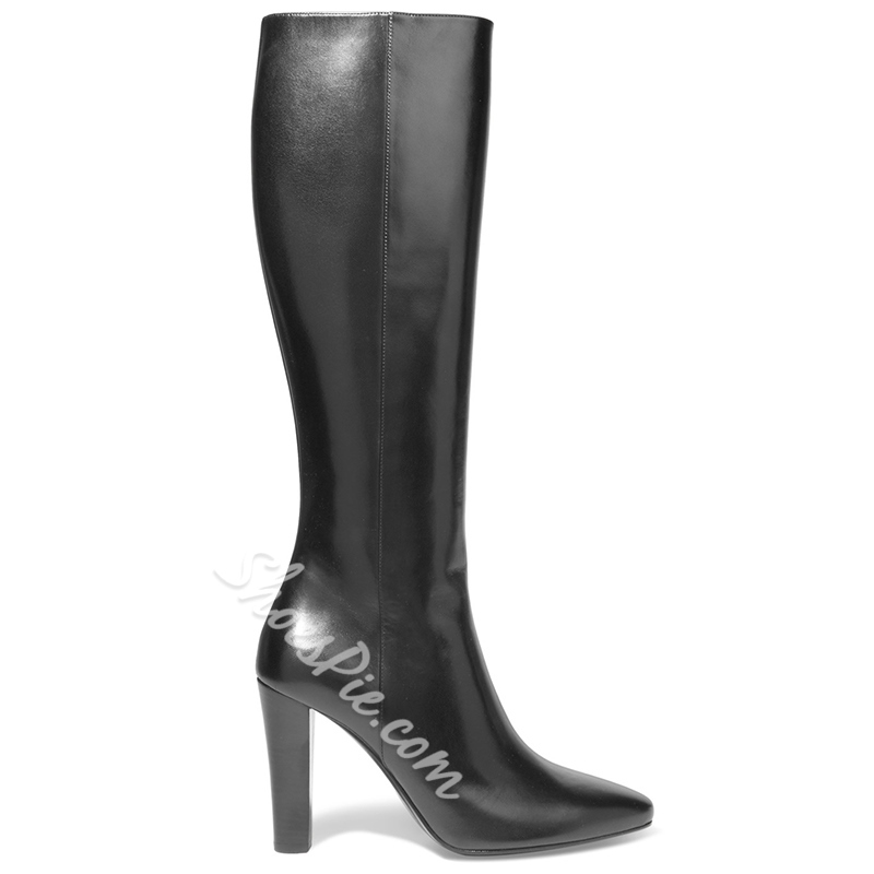 Shoespie Chic Black Pointed Toe Knee High Boots