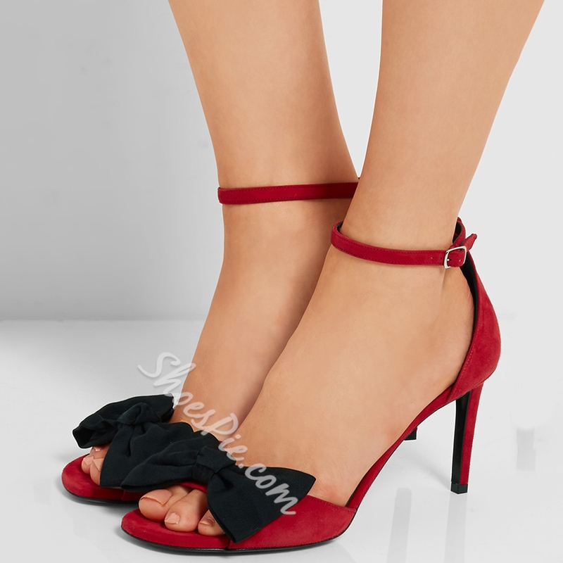 Shoespie Cute Red and Black Bows Dress Sandals