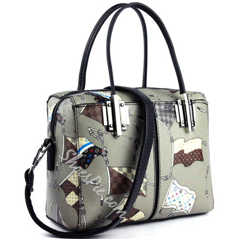 Shoespie Print Patent Leather Handbag