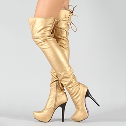 Shoespie Shining Microfiber Back Lace Up Sky High Knee High Boots