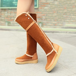 Shoespie Warm Round Toe Patchwork Snow Boots
