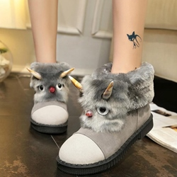 Shoespie Cute Monster Embellished Snow Boots