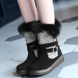 Shoespie Color Block Sequine Shearling Snow Boots