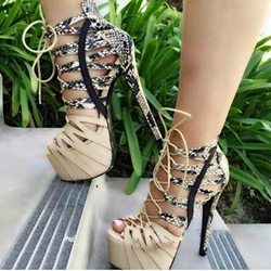 Shoespie Snake Effect Open Toe Platform Heels