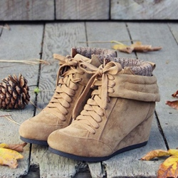Shoespie Vintage Light Brown Wedge Heel Fashion Booties