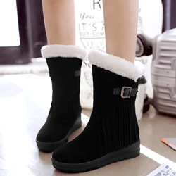 Shoespie Round Toe Furry Ankle Buckle Snow Boots