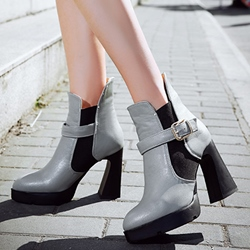 Shoespie Chic Color Block Platform Heels