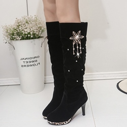 Shoespie Rhinestone Embellished Low Heel Boots
