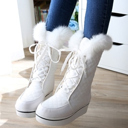 Shoespie Round Toe Furry Plaid Snow Boots
