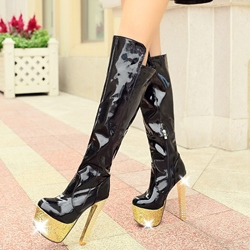 Shoespie Shine Leather High Heel Thigh High Boots