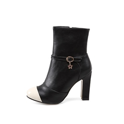 Shoespie Side Zipper Platform Buckle Chunky Heel Ankle Boot