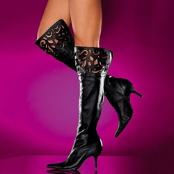 Shoespie Chic Pointed Toe Cut Out Kitty Heel Knee High Boots