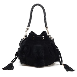 Shoespie Elegant Furry & Fringe Medium Bag
