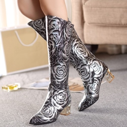 Shoespie Floral Print Wide Boots