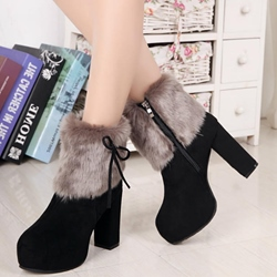 Shoespie Warm Nubuck Chunky Heel Fashion Booties