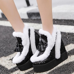 Shoespie Lovely Furry Round Toe Platform Snow Boots
