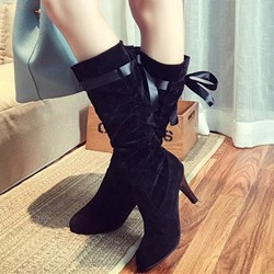 Shoespie Suede-like Round Toe Mid-Calf Low Heel Booties