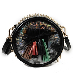 Shoespie Street Rivets Fringe Mini Handbag