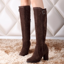 Shoespie Plain Round Toe Buckle Block Heel Knee High Boots