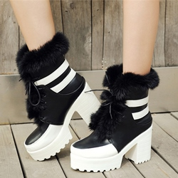 Shoespie Warm Round Toe Furry Platform Snow Boots