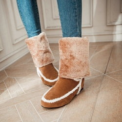 Shoespie Shearling Patchwork Snow Boots