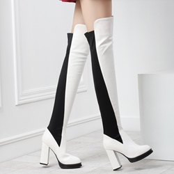 Shoespie Chic Contrast Color Block Heel Thigh High Boots