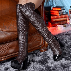 Shoespie Quilted Warm Block Heel Knee High Boots
