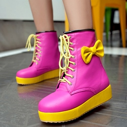 Shoespie Cute Two Tone Color Block Platform Ankle Boots
