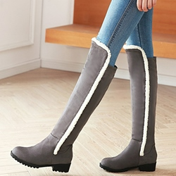 Shoespie Warm Round Toe Patchwork Flat Snow Boots