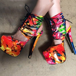 Shoespie Floral Printed Lace Up Platform Heels
