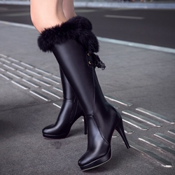Shoespie Furry Patent Leather Low Heel Snow Boots