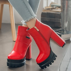Shoespie Patent Leather Round Toe Platform Ankle Boots